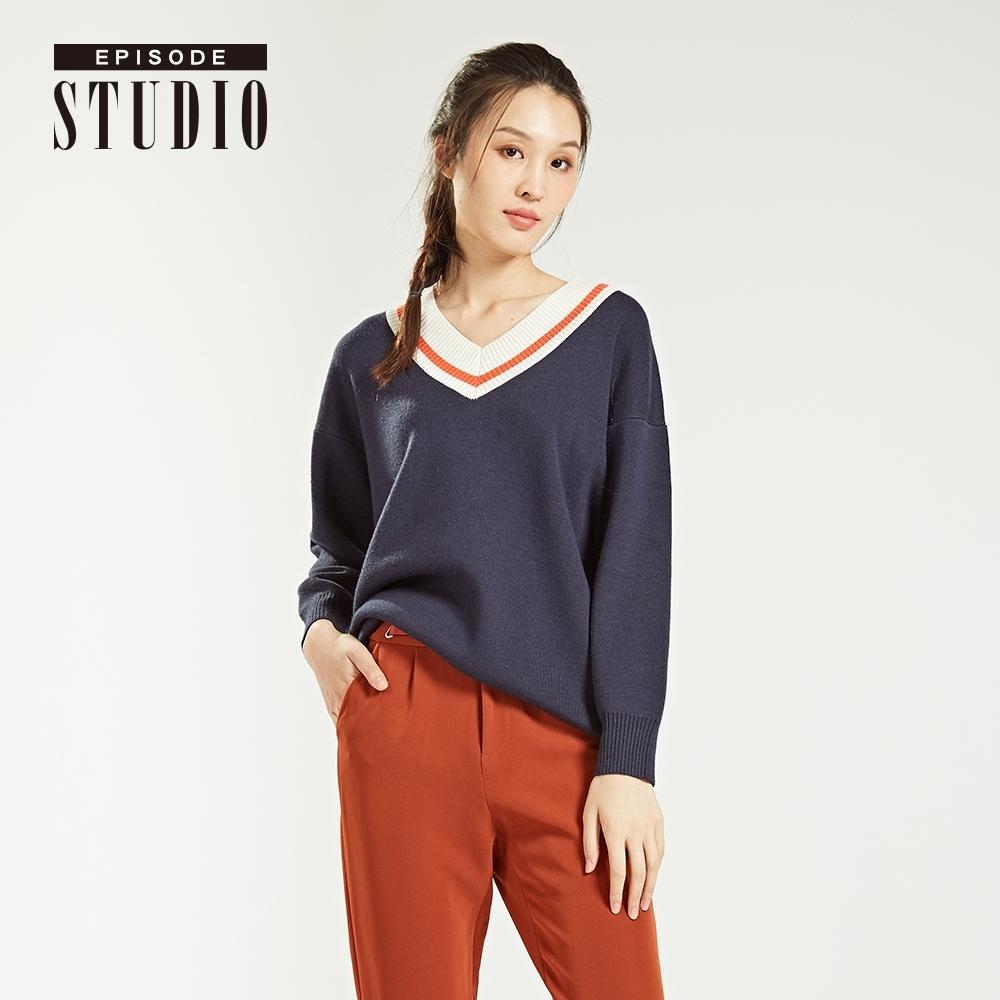 EPISODE Studio - 隨性優雅V領設計針織衫(深藍)