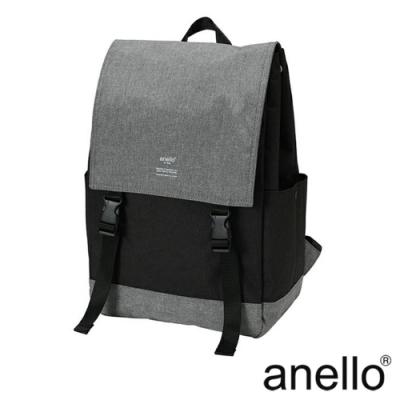 日本正版anello 高雅混色紋理休閒翻蓋式後背包 AT-H1151 黑灰拼接 BG