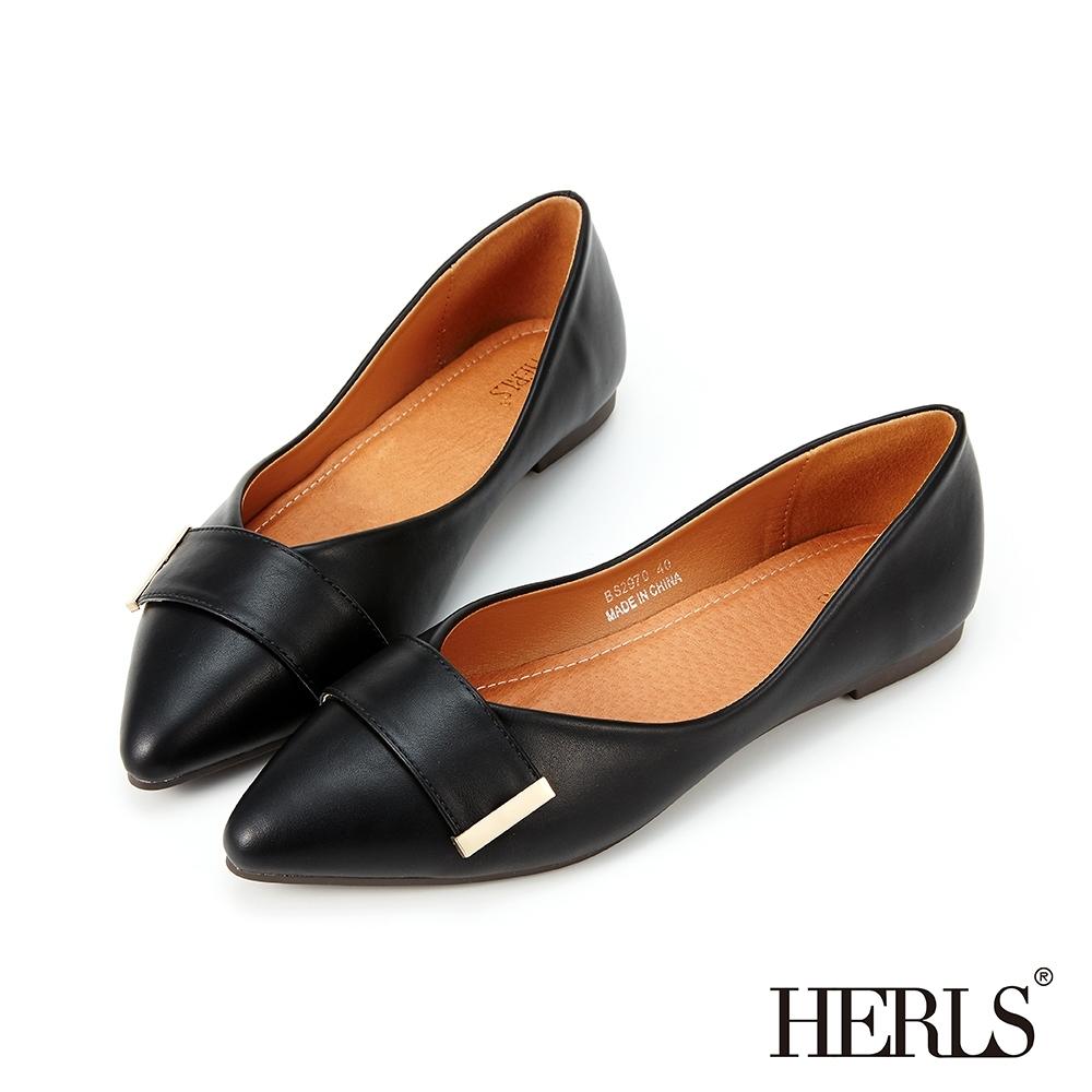 HERLS平底鞋-簡約橫帶金飾尖頭平底鞋-黑色