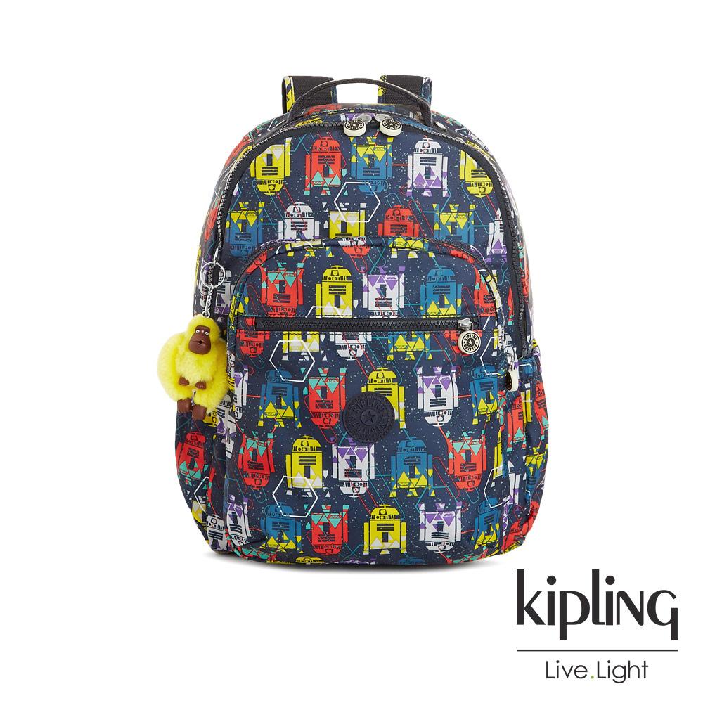 Kipling STAR WARS-繽紛經典R2-D2機器人圖騰後背包-SEOUL GO