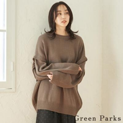 Green Parks 2WAY拼接手袖特色針織上衣