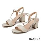 達芙妮DAPHNE 涼鞋-一字撞色拼接粗高跟涼鞋-白
