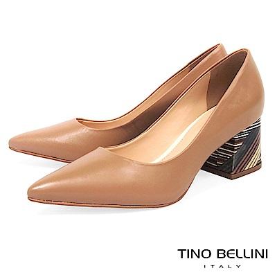 Tino Bellini 巴西進口簡單不凡圖騰造型跟鞋 _ 淺駝