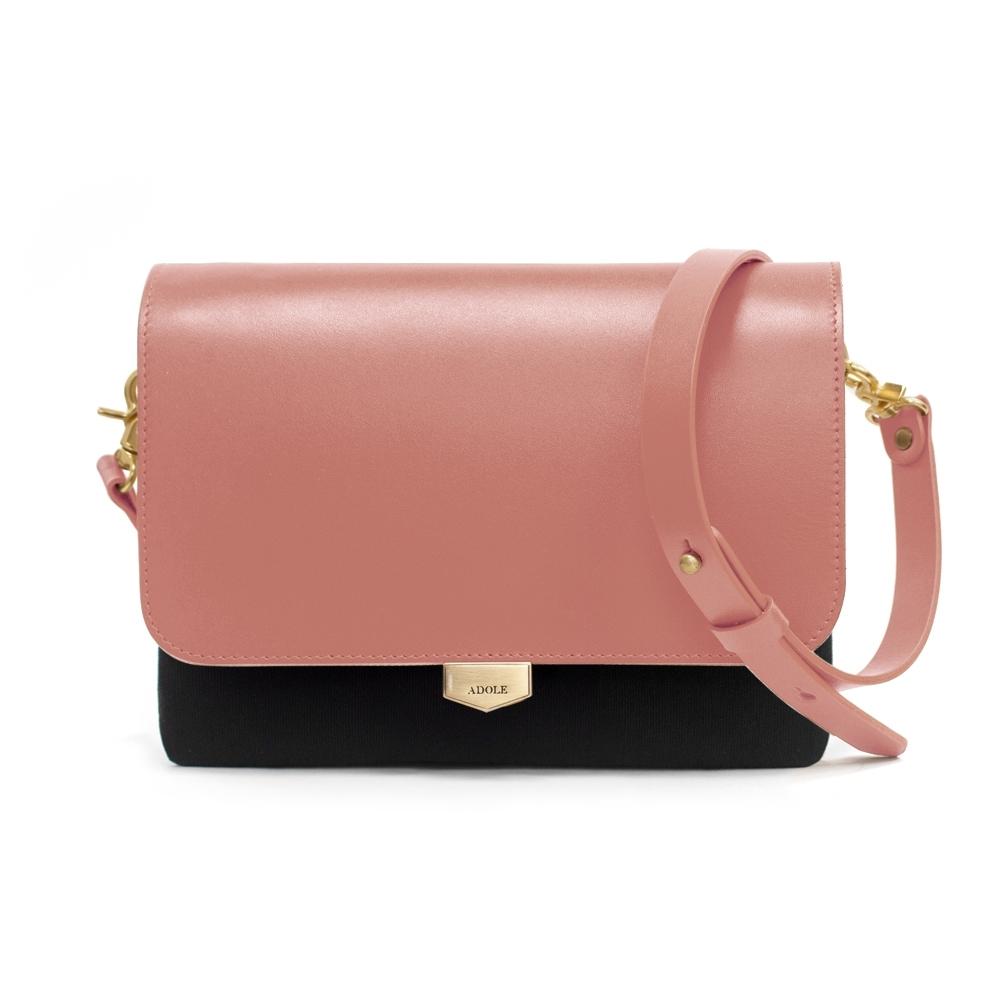 【IBAOBAO愛包包】ADOLE-ADay真皮袋蓋三層帆布包/黑+燻粉