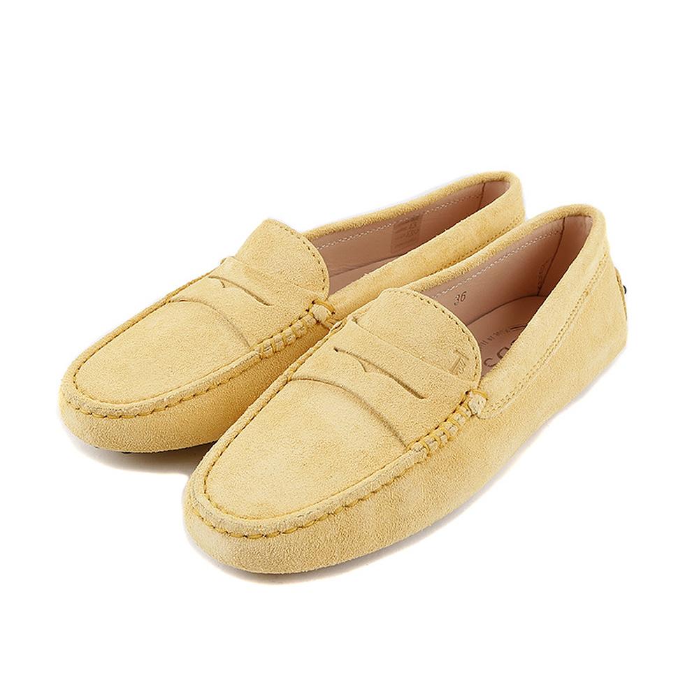 TOD'S Gommino 麂皮絨休閒豆豆鞋(太陽黃)