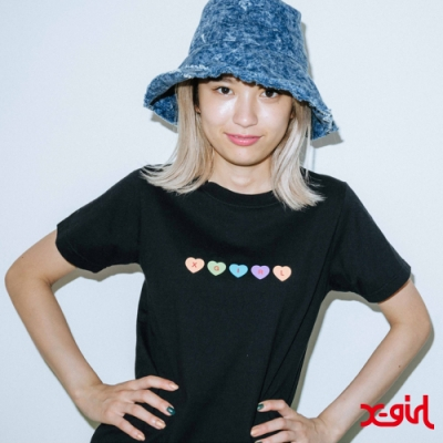 X-girl HEARTS S/S BABY TEE短袖T恤-黑