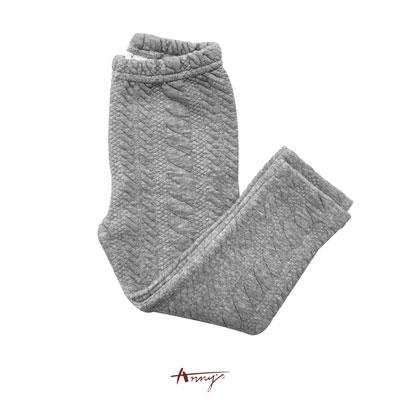Annys浪漫荷葉壓紋彈性厚棉襪褲*5666灰