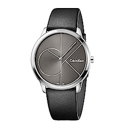 CK CALVIN KLEIN Minimal 系列cK Logo錶盤小牛皮女錶-35mm