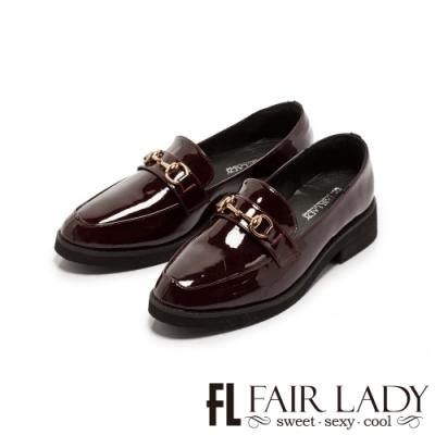 Fair Lady金屬馬銜釦漆皮厚底樂福鞋 酒紅
