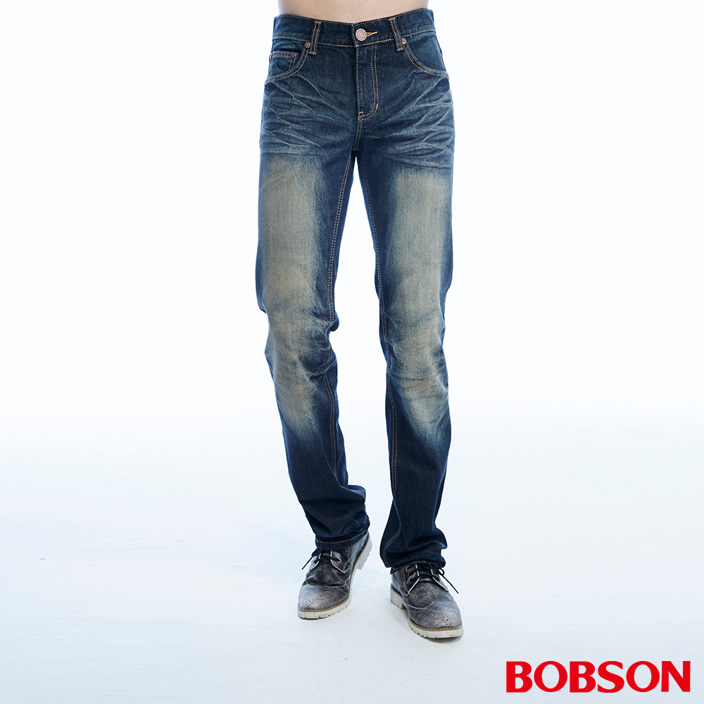 BOBSON 男款立體壓摺中藍色直筒褲
