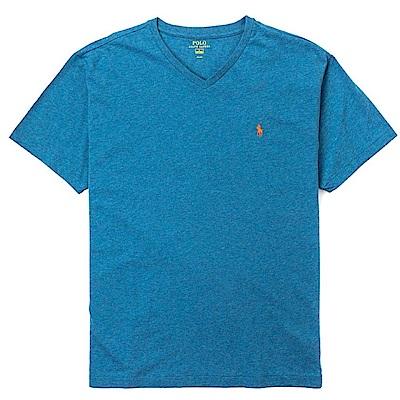 Polo Ralph Lauren 經典電繡小馬V領素面短袖T恤-亮藍色