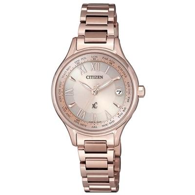 CITIZEN 星辰XC 電波櫻花粉鈦金屬羅馬腕錶-28.0mm(EC1164-53Y)