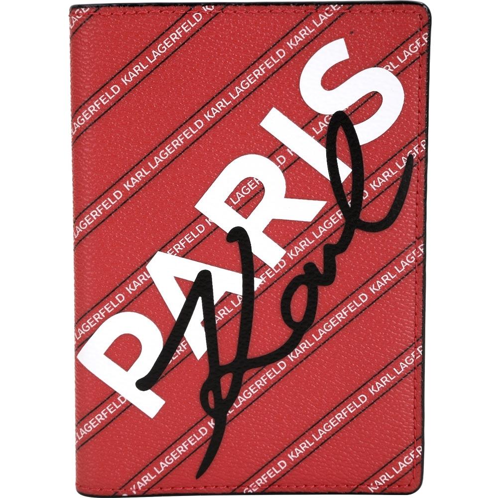 KARL LAGERFELD K/CITY 字母條紋塗層材質護照夾(紅色)