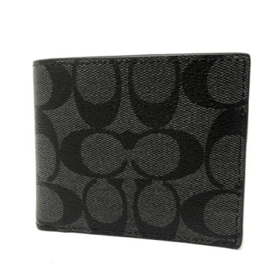COACH 經典LOGO男款6卡照片證件短夾(黑灰)