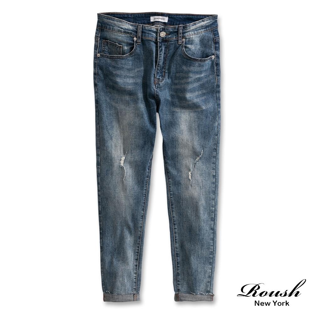 Roush 刷白抓痕經典淺色彈力牛仔褲