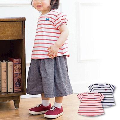 日本雜誌款-圓弧下擺橫條短袖T(粉紅/藍)