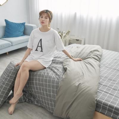 BUHO 天然嚴選純棉雙人舖棉兩用被套-6x7尺(酷淨森澈)