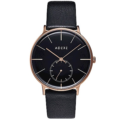 ADEXE 英國時尚手錶 Freerunner單眼系列 黑錶盤x玫瑰金錶框皮革錶帶41mm
