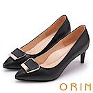 ORIN 典雅氣質 梯形金屬釦環羊皮高跟鞋-黑色