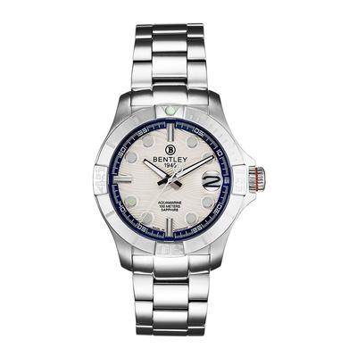 Bentley 賓利 AQUAMARINE系列 紳士不銹鋼手錶-白面x銀/43mm