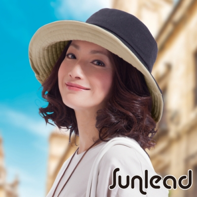 Sunlead 雙面雙色可戴。可塑型折邊防曬寬緣寬圓頂遮陽帽 (黑色/淺褐)