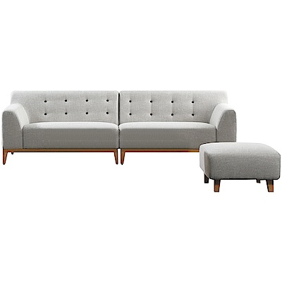 文創集 卡莫爾時尚亞麻布L型獨立筒沙發組合(四人座+椅凳)-260x153x78cm免組