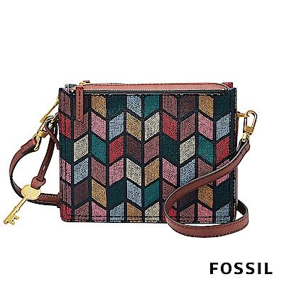 FOSSIL Campbell 復古優雅隨身多層小方包-彩繪