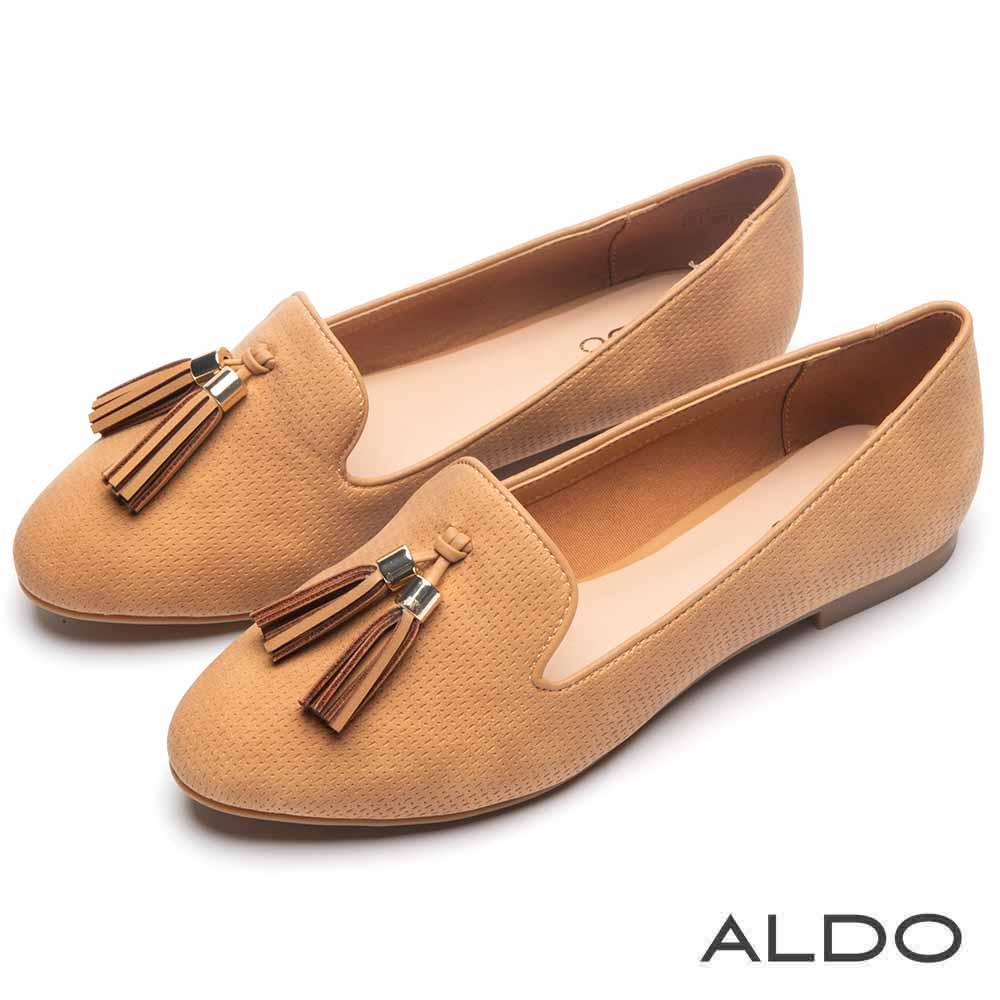 ALDO 原色棉質佐真皮鞋墊流蘇樂福鞋~氣質焦糖