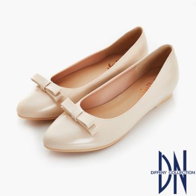 DN 夏日漫步 立體蝴蝶結內增高尖頭鞋-米