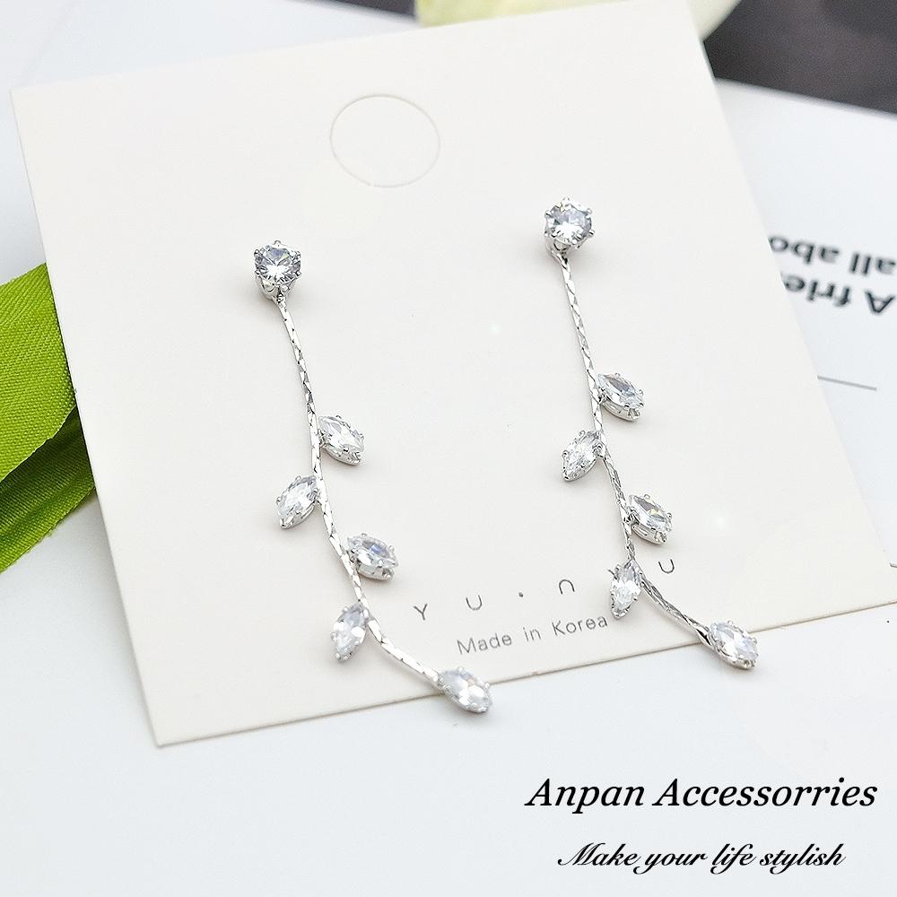 【ANPAN愛扮】925銀針韓東大門浪漫唯美水晶垂墜鑽石串耳環