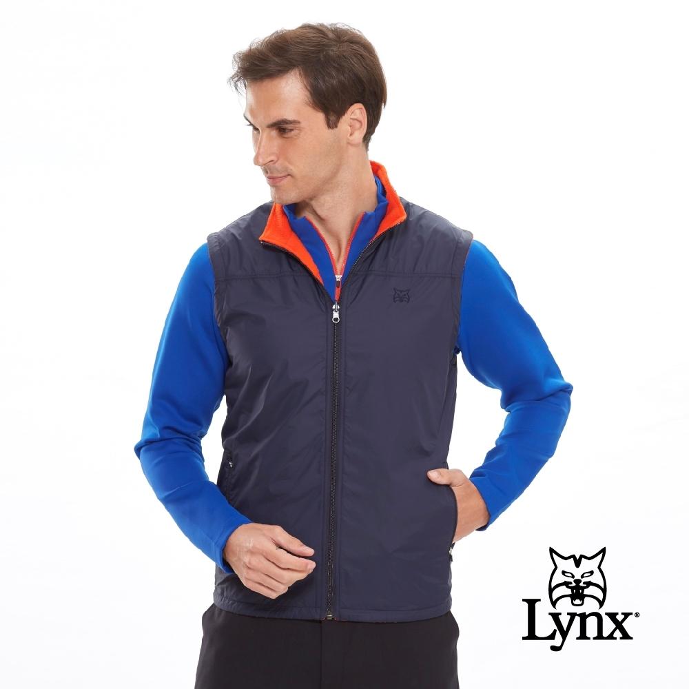 【Lynx Golf】男款雙面穿Fleece風衣布無袖背心-深藍色/橘色