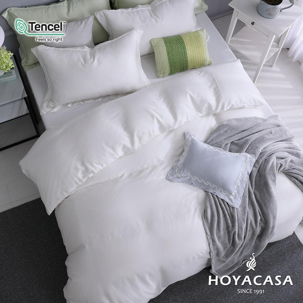 【HOYACASA】法式簡約300織抗菌天絲兩用被床包組-(雙人/加大任選)+贈兩枕 (碧砂白)