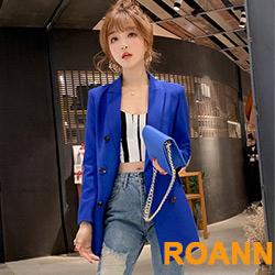 純色翻領排釦中長款西裝外套 (共四色)-ROANN