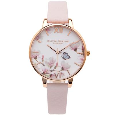 OLIVIA BURTON 蝴蝶與美麗共舞款手錶-花朵面/38mm