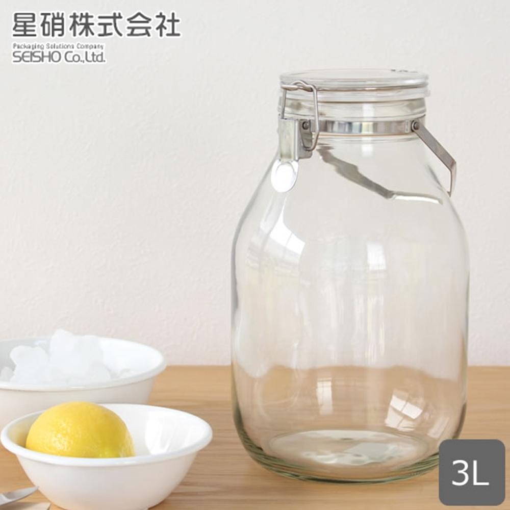 日本星硝 日本製醃漬/梅酒密封玻璃保存罐3L(密封 醃漬 日本製)(快)