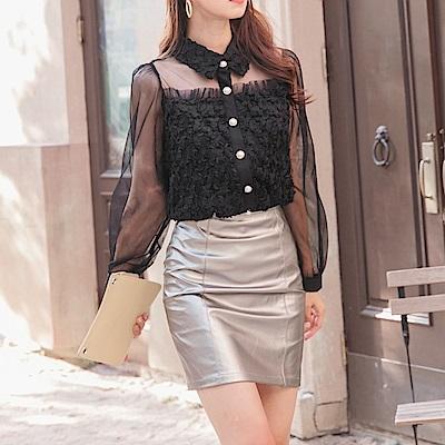 彈力金屬感包臀短裙-OB大尺碼