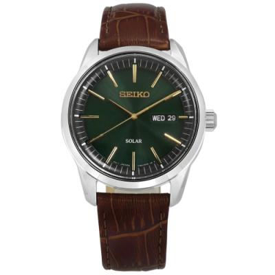 SEIKO 精工 太陽能 藍寶石水晶玻璃 壓紋牛皮手錶-綠x褐/40mm