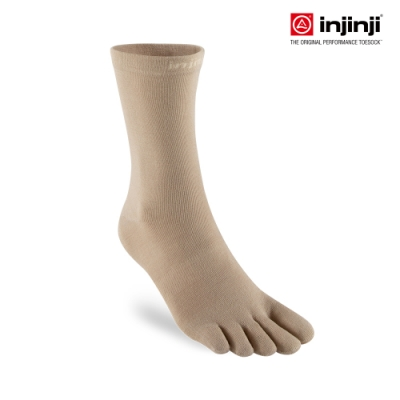 【INJINJI】LINER中筒內襪 [燕麥色] 運動吸排五趾襪 中筒襪 五指襪