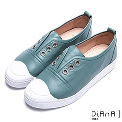DIANA圓鑽無綁帶休閒鞋-漫步雲端焦糖美人款-藍綠