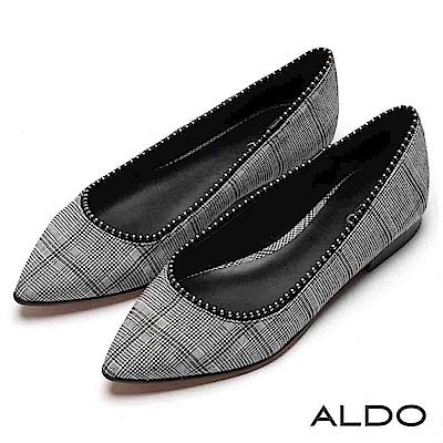 ALDO 原色真皮鞋墊綴金屬銀珠鞋緣尖頭粗跟鞋~灰千鳥格