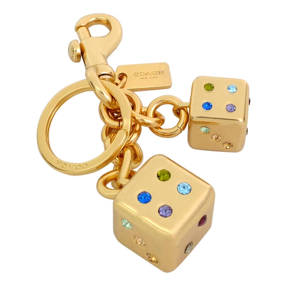 COACH金屬彩色水鑽骰子圓型掛勾雙扣環鑰匙圈COACH