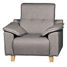 文創集 西思時尚灰布紋皮革單人座沙發椅-80x101x93cm免組