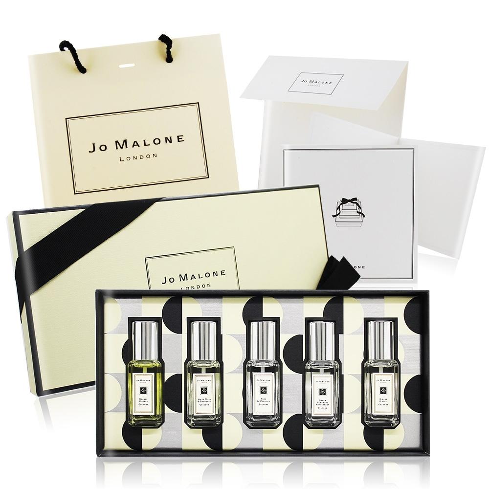 Jo Malone 繽紛聖誕香水禮盒(苦橙+白苔+星玉蘭+綠杏仁+甜薑餅)[附提袋]+原廠禮物卡片組-百貨公司貨