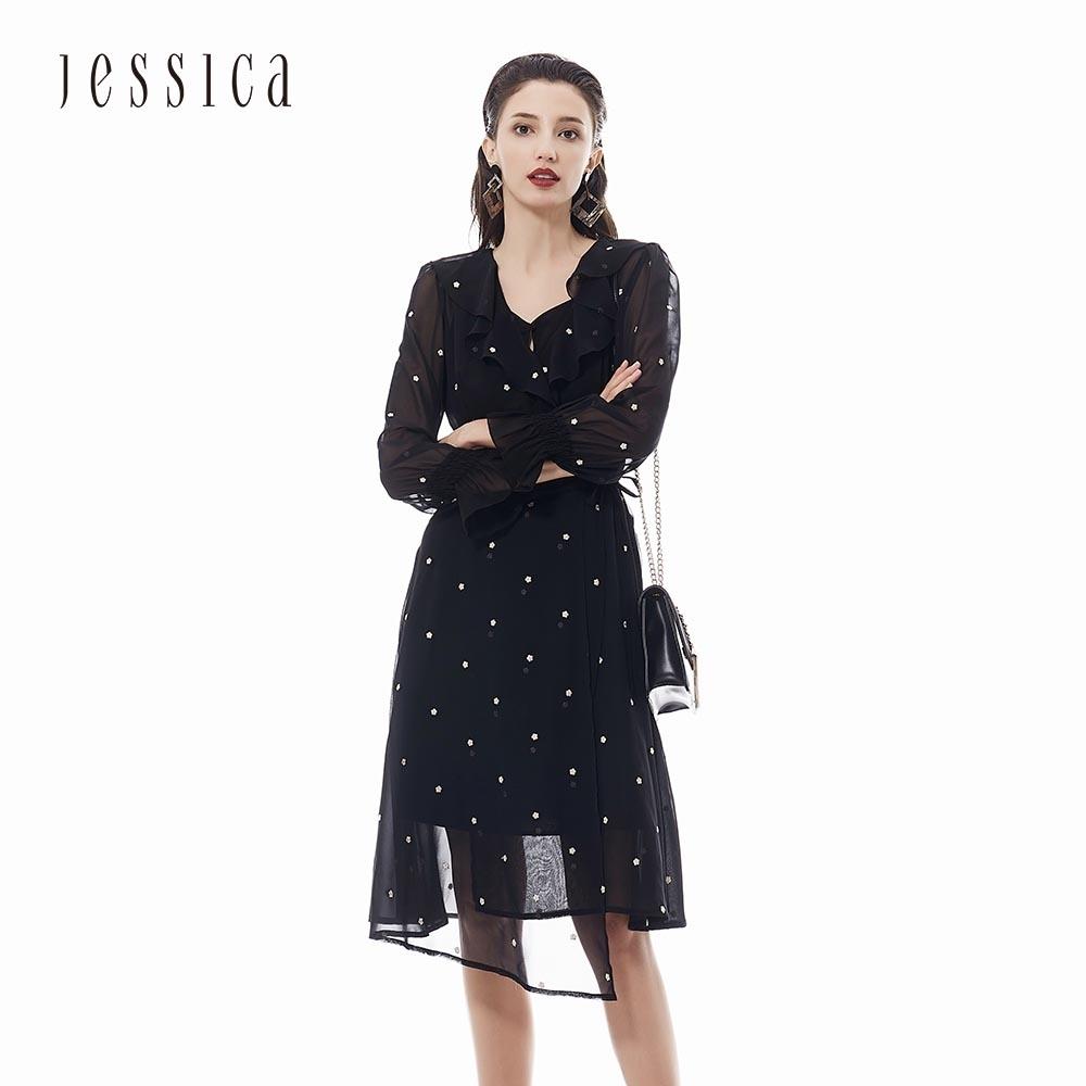 JESSICA - 黑色小碎花荷葉邊喇叭袖口長袖雪紡洋裝
