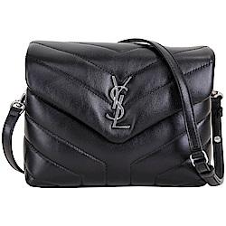 YSL Saint Laurent LOULOU 銀字絎縫小牛皮斜背包(黑色)