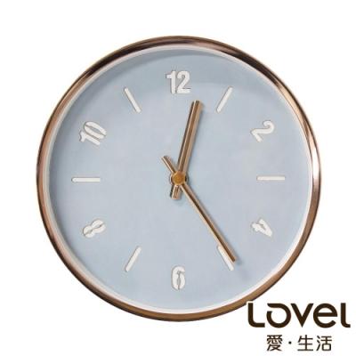 Lovel 16cm玫瑰金框皮革靜音時鐘/桌鐘-藍綠(T736PU-RG)
