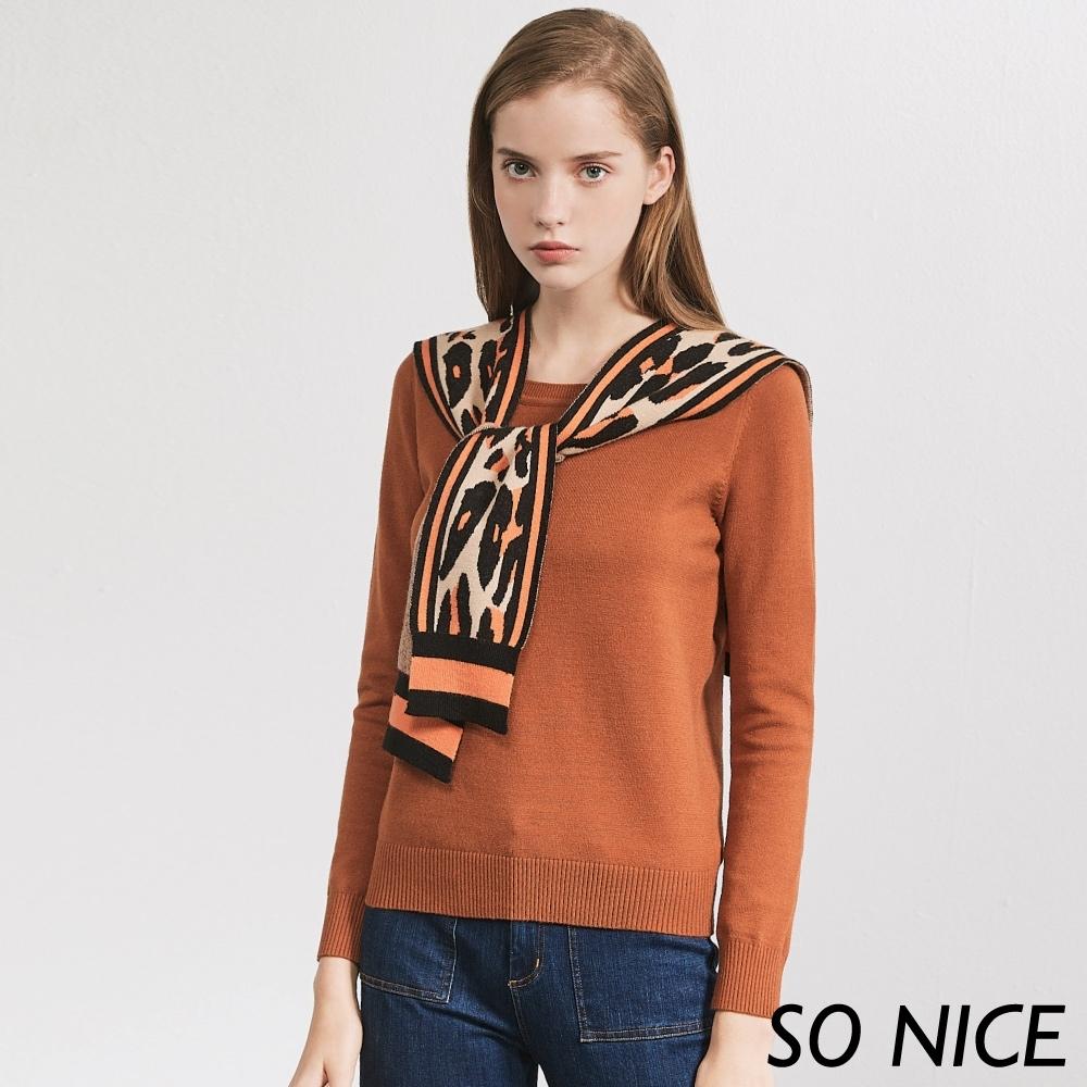SO NICE時尚豹紋披肩針織上衣