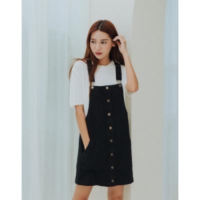 Shester55-斜紋排釦吊帶裙(二色)-女【A2SH023】