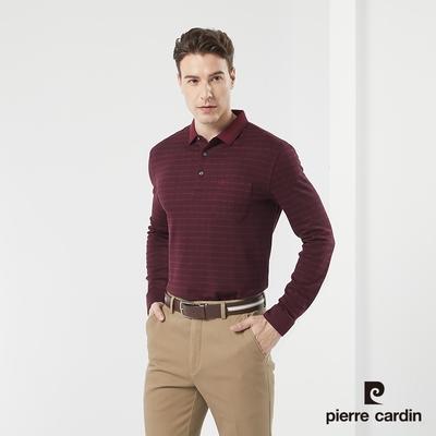 Pierre Cardin皮爾卡登 男款 保暖彈性棉質混紡 提花格紋長袖POLO衫-暗紅色(5185295-79)