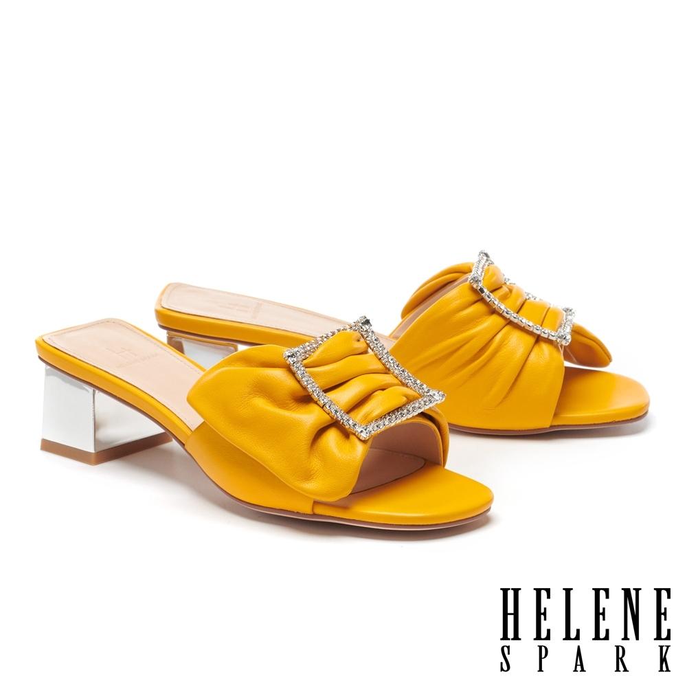 拖鞋 HELENE SPARK 別致高雅晶鑽方釦全真皮高跟拖鞋-黃